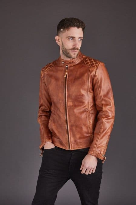 Men's Leather Biker in Brown :Barclay